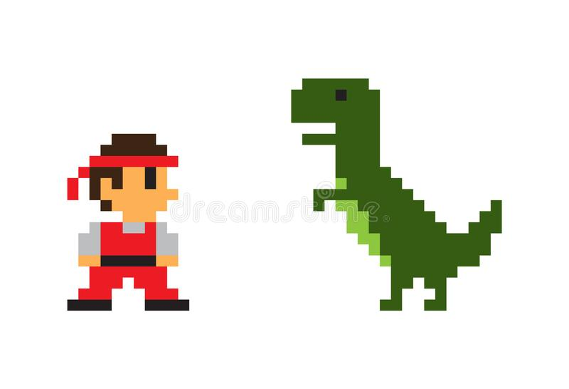Pixel Man and Big Rex Dinosaur, Vector Poster. Pixel man and big Rex dinosaur vector poster isolated on white background, pixel predator animal with green skin stock illustration