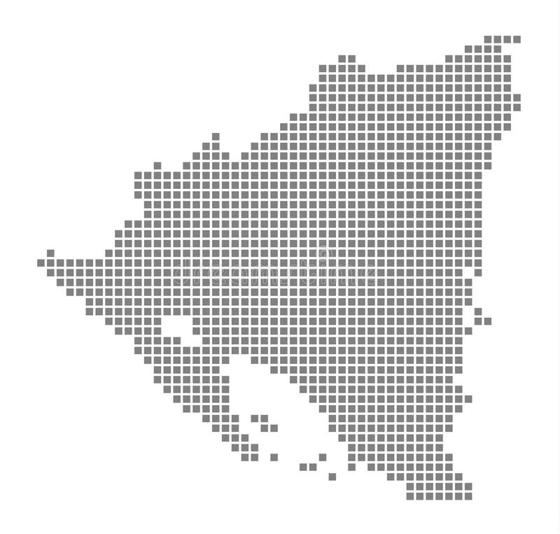 Pixel map of Nicaragua. Vector dotted map of Nicaragua isolated on white background. Abstract computer graphic of Nicaragua map. royalty free illustration