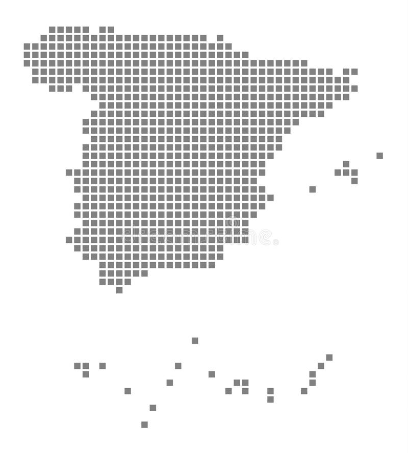 Pixel map of Spain. Vector dotted map of Spain isolated on white background. Abstract computer graphic of Spain map. Vector illustration royalty free illustration