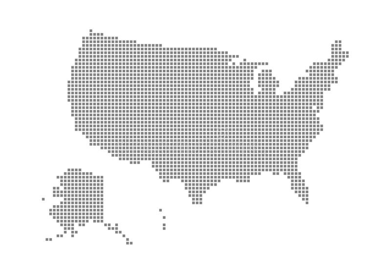 Pixel map of USA. Vector dotted map of USA isolated on white background. Abstract computer graphic of USA map. Vector illustration royalty free illustration