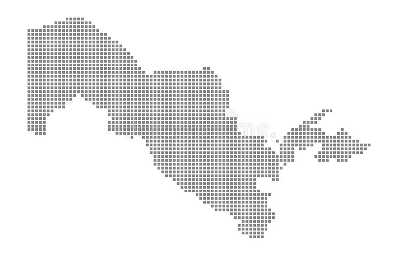 Pixel map of Uzbekistan. Vector dotted map of Uzbekistan isolated on white background. Abstract computer graphic of Uzbekistan map vector illustration