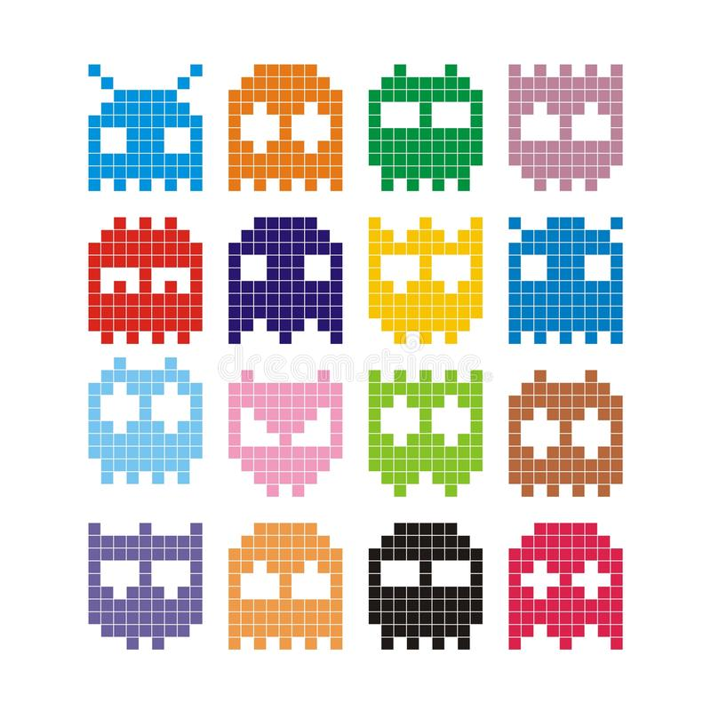 Pixel monster icons. Vector pixel monster icons isolated on white background royalty free illustration