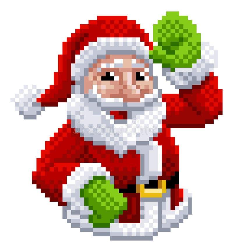 Pixel mordu Art Style de jeu vidéo de Santa Claus 8 illustration libre de droits