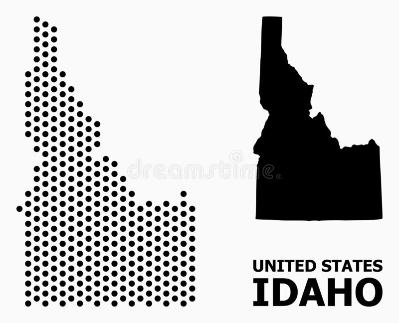 Pixel Mosaic Map of Idaho State. Dot map of Idaho State composition and solid illustration. Vector map of Idaho State composition of circle items with hexagonal royalty free illustration