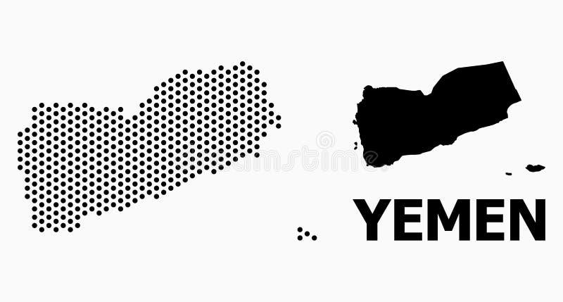 Pixel Mosaic Map of Yemen stock illustration