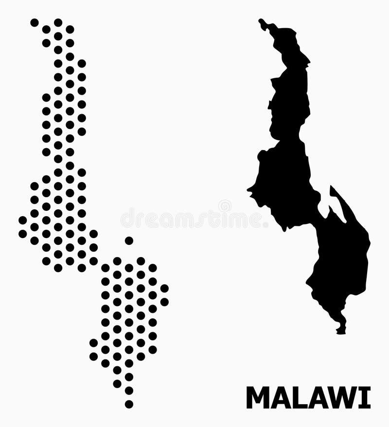 Pixel-Mosaik-Karte von Malawi lizenzfreie abbildung