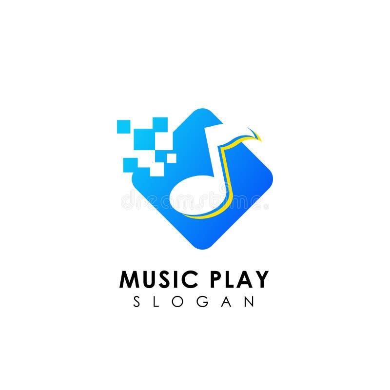 Pixel music logo design template. music icon symbol design royalty free illustration