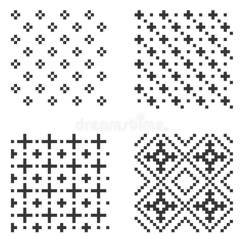 Pixel-nahtloser Muster-Satz Vektor vektor abbildung