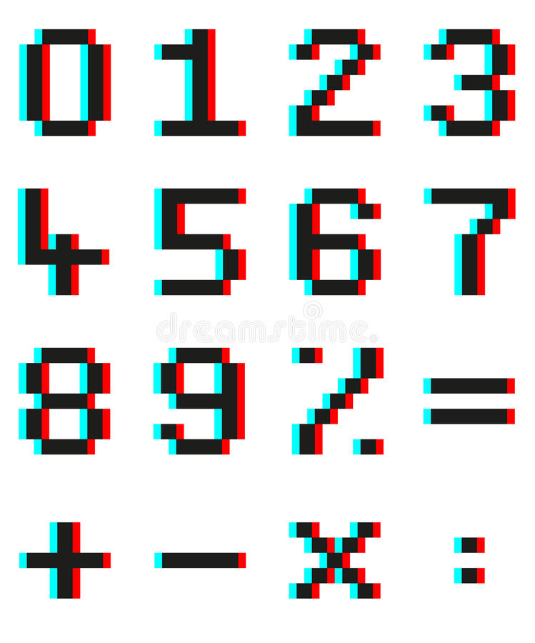 Pixel numbers and mathematical signs with Anaglyph 3d effect. Set of pixel numbers and mathematical signs with Anaglyph 3d effect vector illustration