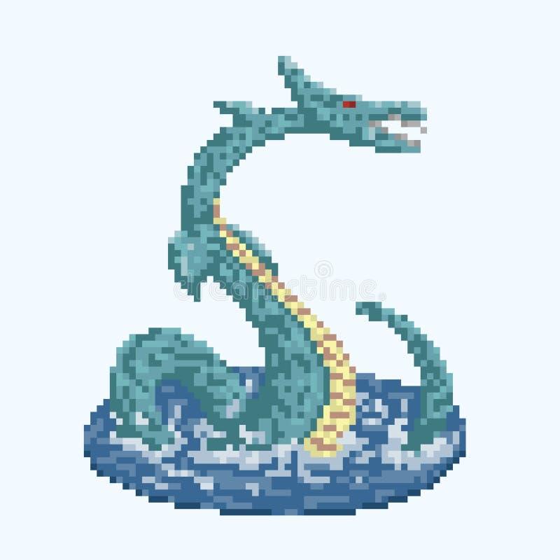 Pixel Overzeese Draak royalty-vrije illustratie