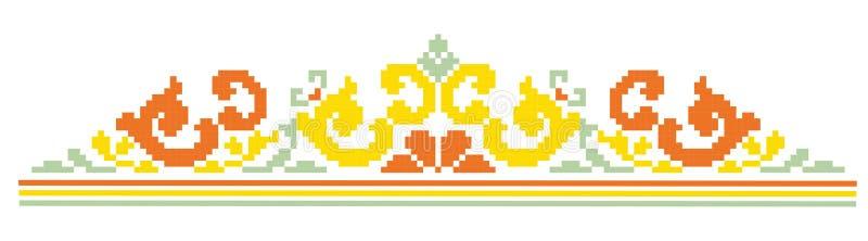 Pixel pattern borders for cross-stitch stock illustration