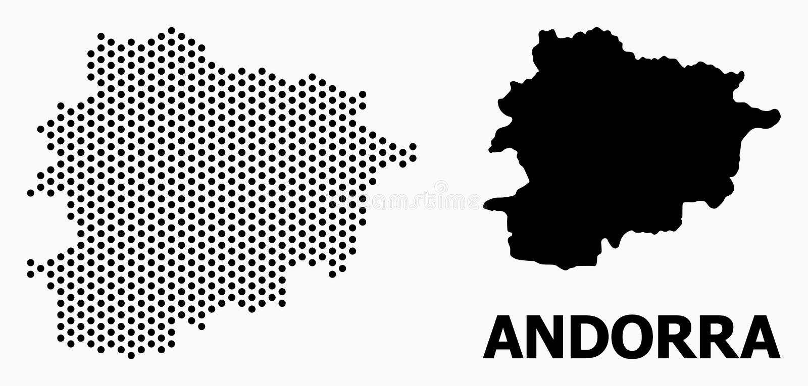 Pixel Pattern Map of Andorra. Pixel map of Andorra composition and solid illustration. Vector map of Andorra composition of sphere spots with honeycomb geometric royalty free illustration