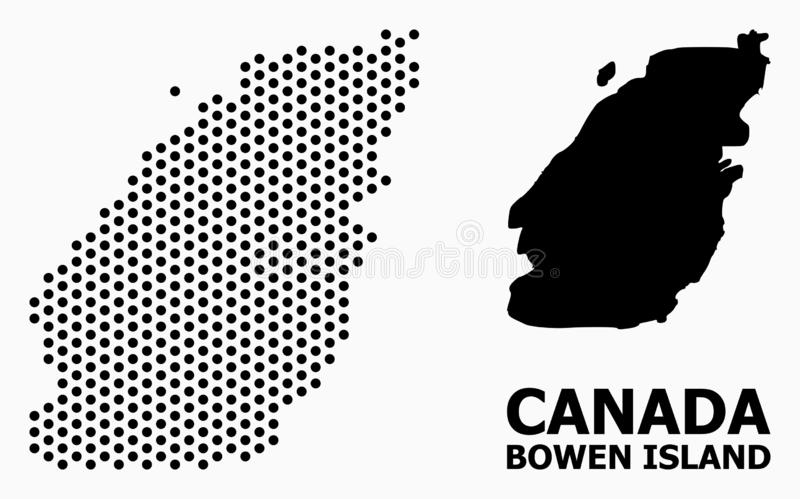 Pixel Pattern Map of Bowen Island. Dotted map of Bowen Island composition and solid illustration. Vector map of Bowen Island composition of round dots with stock illustration