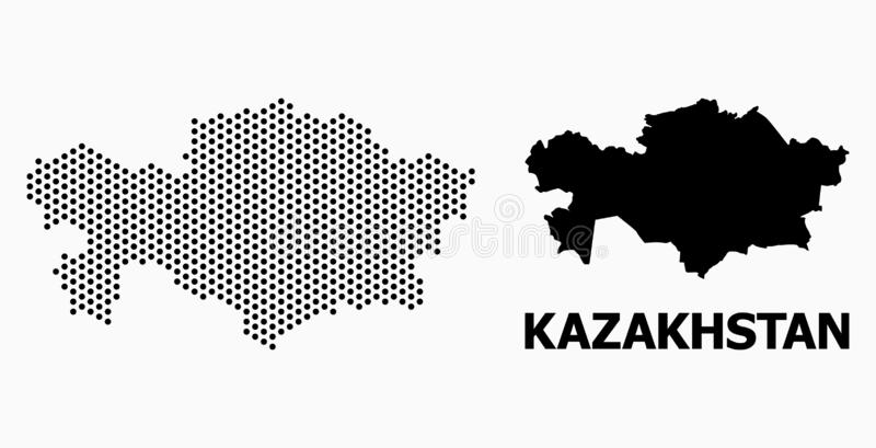 Pixel Pattern Map of Kazakhstan royalty free illustration