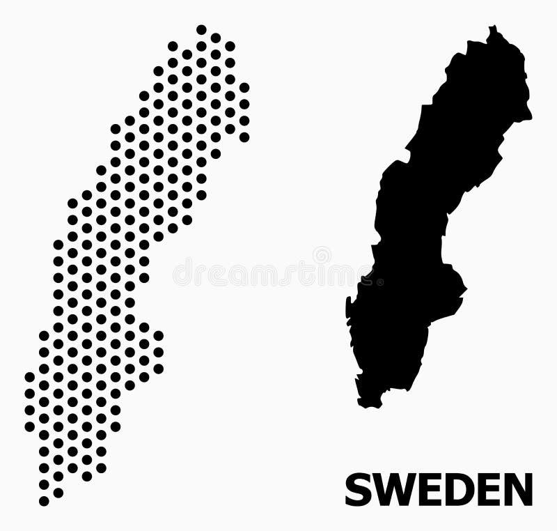Pixel Pattern Map of Sweden stock illustration