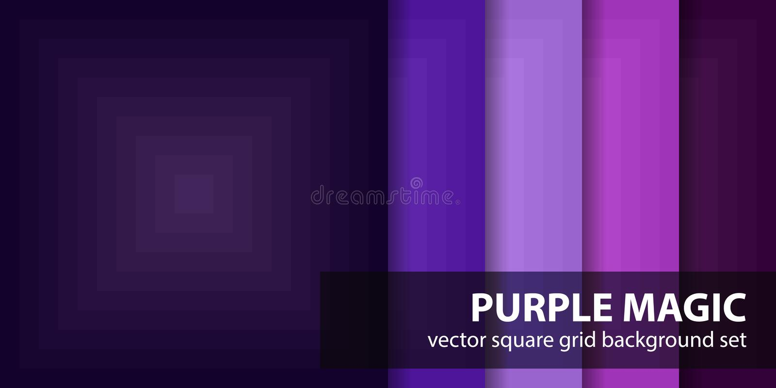 Pixel pattern set Purple Magic. Vector seamless pixel art backgrounds royalty free illustration