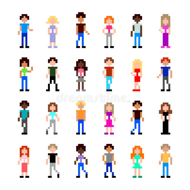 Pixel people for game set detailed illustration isolated vector vector illustration