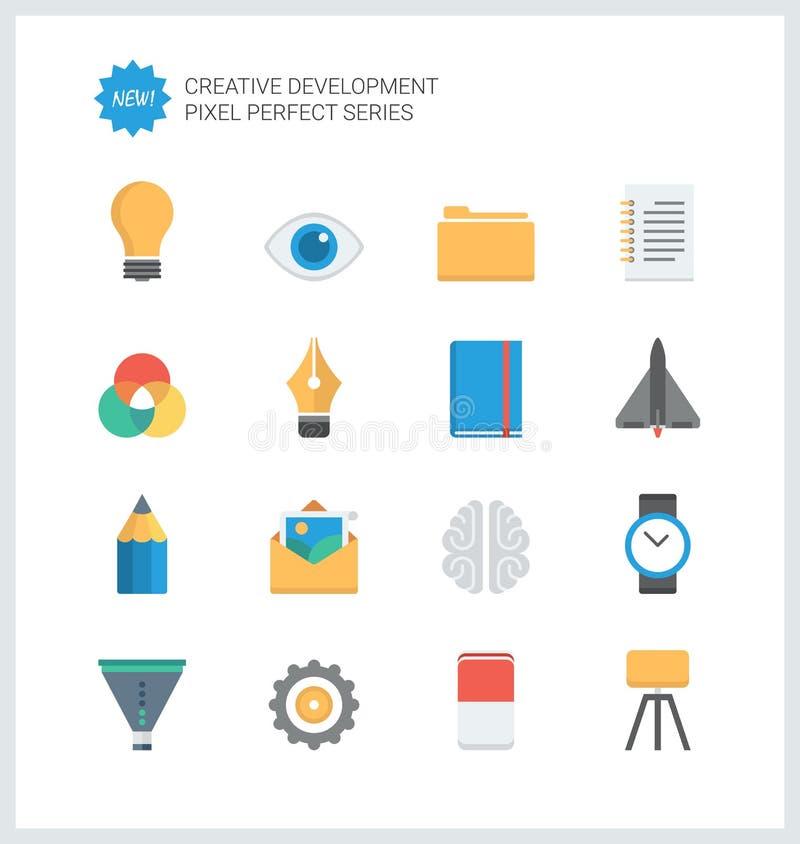 Pixel perfect creative development flat icons vector illustration