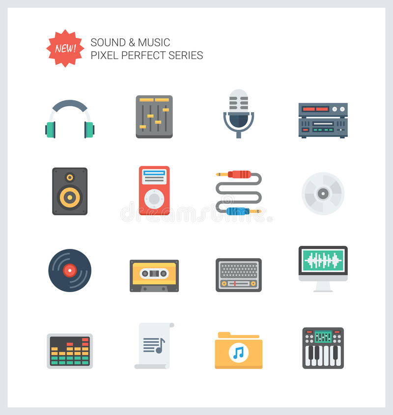Pixel perfect education items flat icons set royalty free illustration