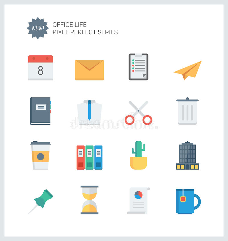 Pixel perfect office tools flat icons stock illustration