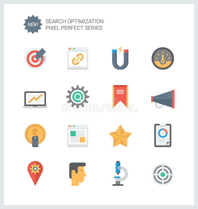 Pixel perfect SEO services flat icons royalty free illustration