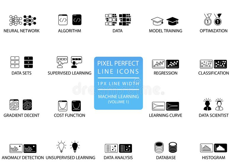 Pixel perfect thin line icons and symbols for machine learning / deep learning / artificial intelligence royalty free illustration