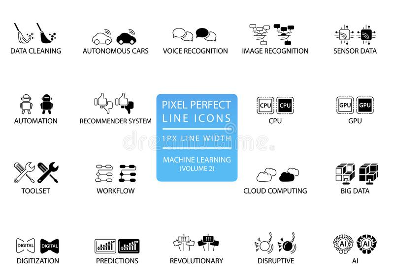 Pixel perfect thin line icons and symbols for machine learning / deep learning / artificial intelligence vector illustration