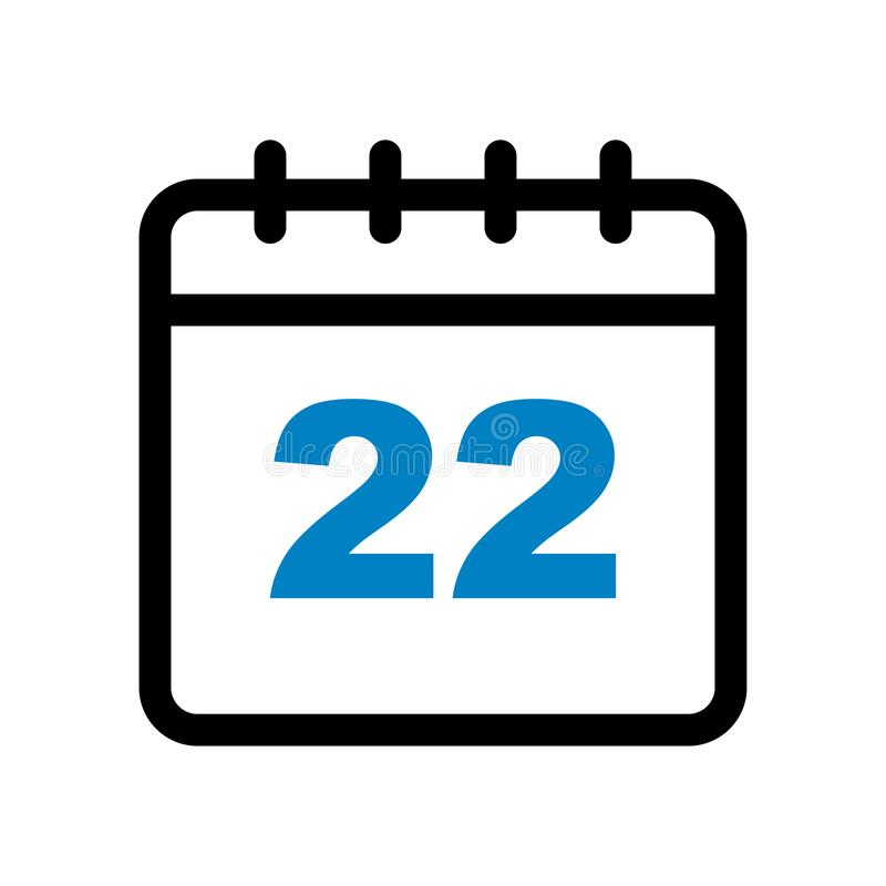 Calendar icon 22nd. Pixel perfect web icon - vector illustration of  month calendar date on isolated white background vector illustration