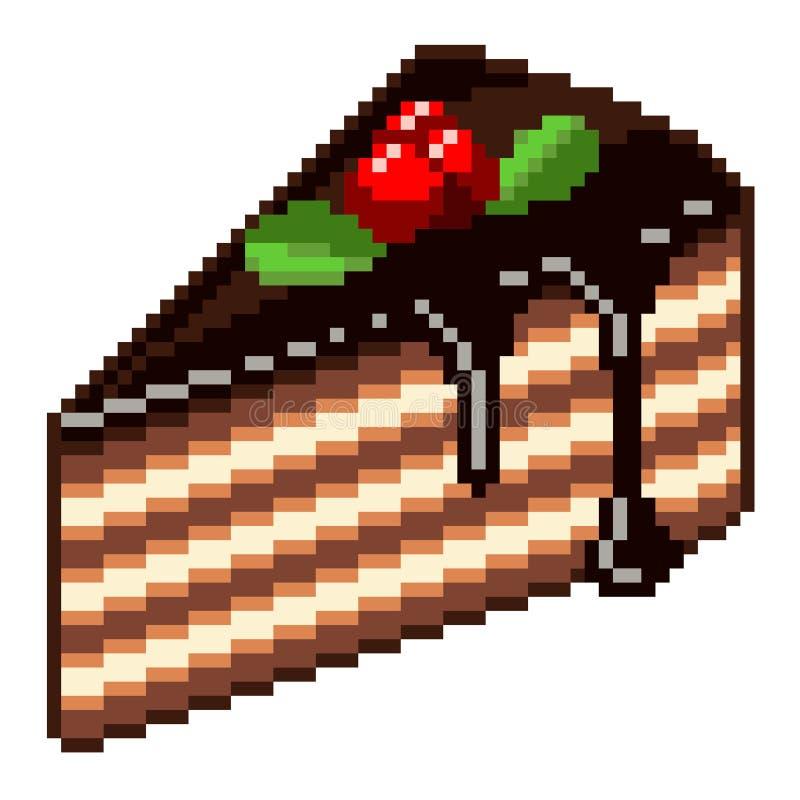 Vector Pixel Art Cake Piece Stock Vector Illustration Of