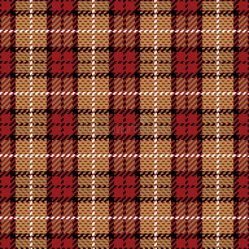 Pixel Plaid_Red-Gold illustration stock