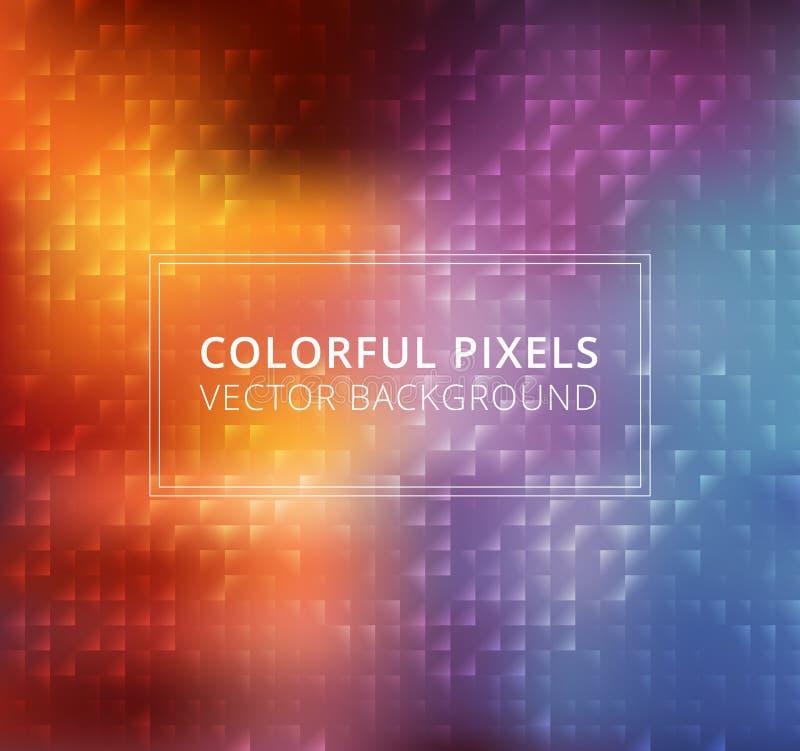 Pixel quadrati variopinti astratti fondo, vettore illustrazione vettoriale