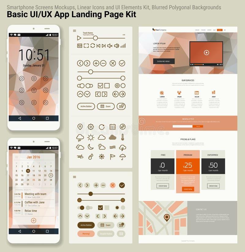 Pixel responsivo UI perfeito molde móvel do app do projeto liso e do Web site ilustração stock