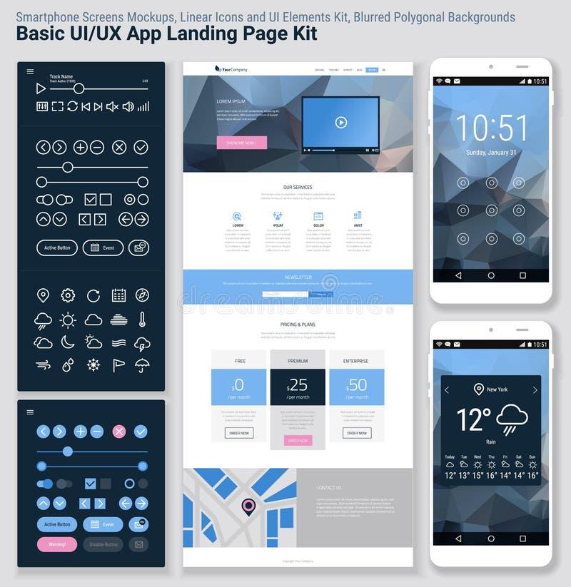 Pixel responsivo UI perfeito molde móvel do app do projeto liso e do Web site ilustração royalty free