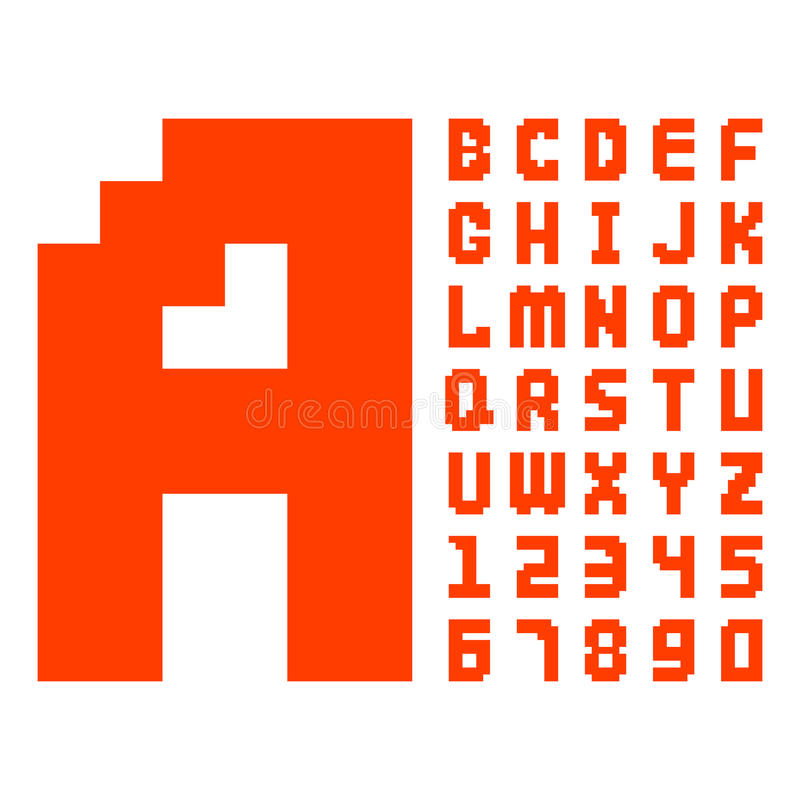 Pixel Retro Font Red Computer Game Design 8 Bit Letters