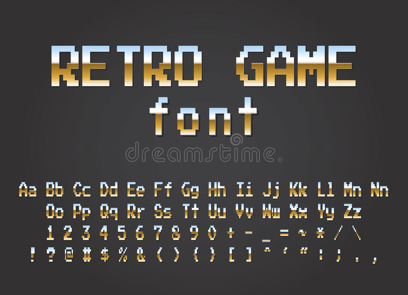Pixel retro font Video computer game design 8 bit stock illustration