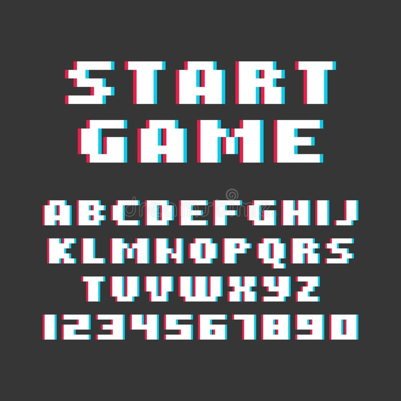 Pixel-Retrostil-Videospiel-Guss Vektor stock abbildung