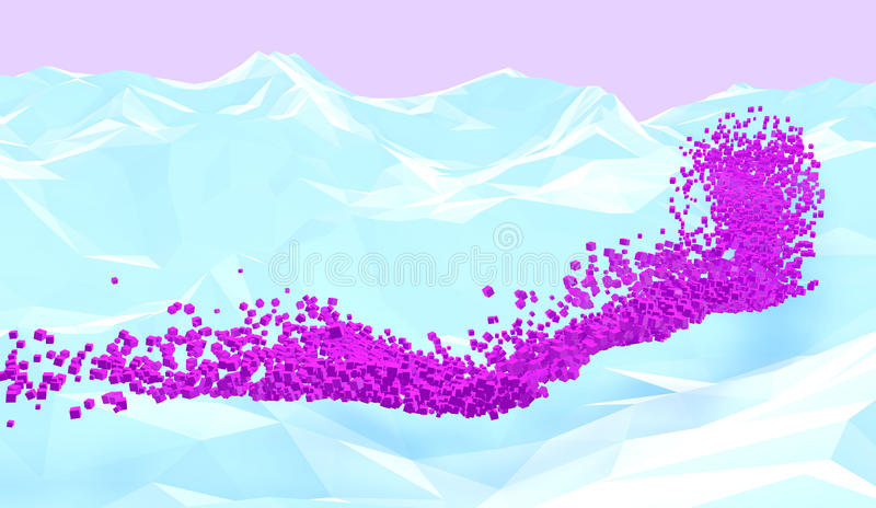Pixel river. Abstract background with white polygonal mountains and pink cubes flow. 3D illustration stock illustration