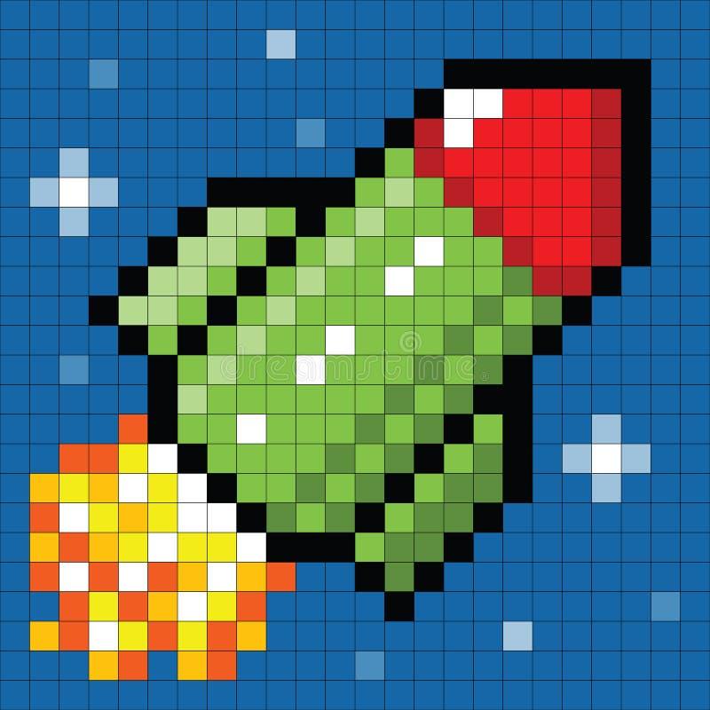 8-bit Pixel Rocket in Space. Cartoon rocket depicted in pixel-art form royalty free illustration