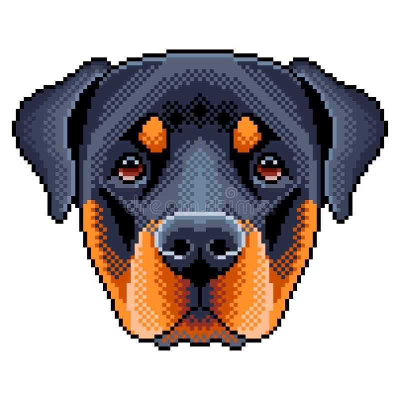 Pixel rottweiler Hundegesicht lokalisierter Vektor lizenzfreie abbildung