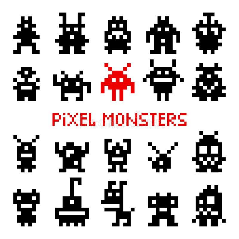 Pixel ruimtemonsters vector illustratie