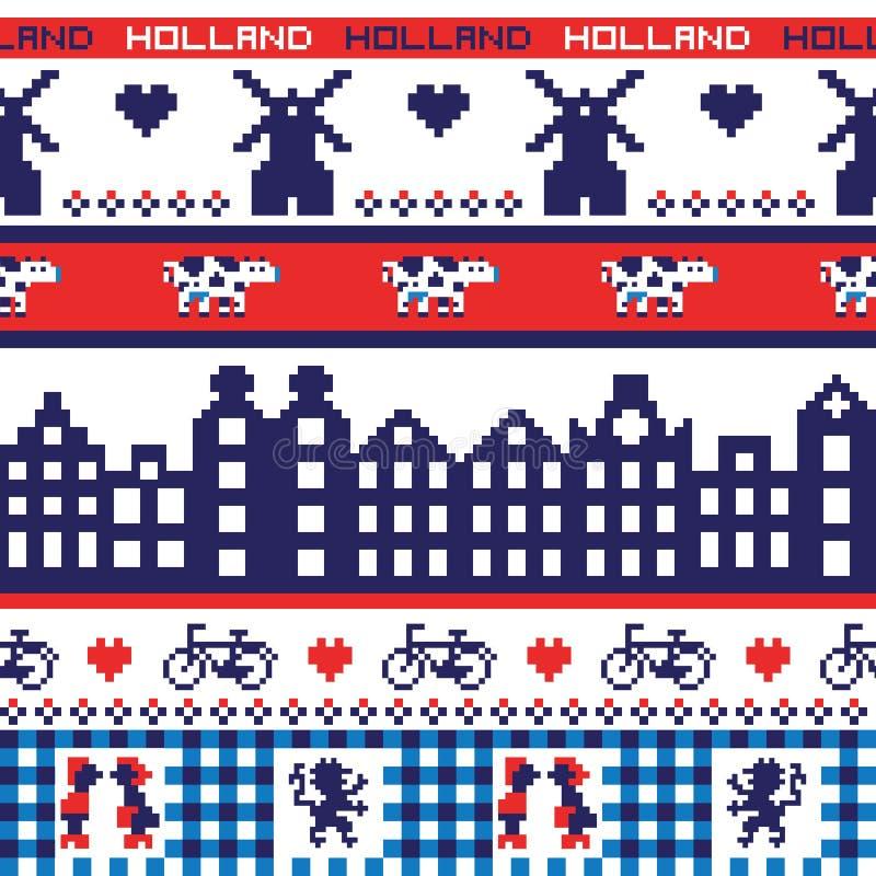 Pixel sans couture Holland Pattern de vecteur illustration stock