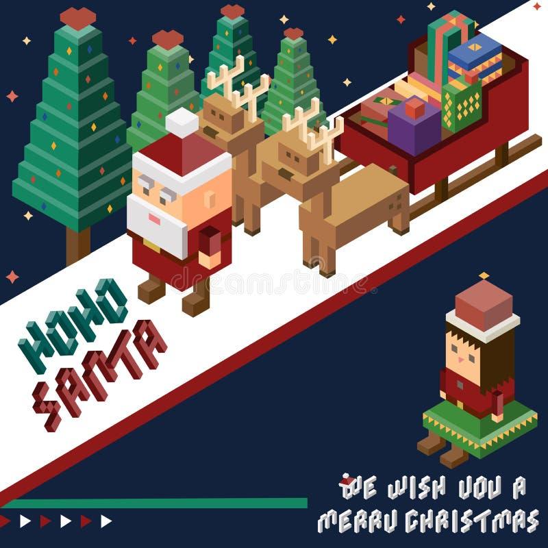 Pixel Santa Claus et renne et bonhomme de neige, Joyeux Noël et illustration libre de droits