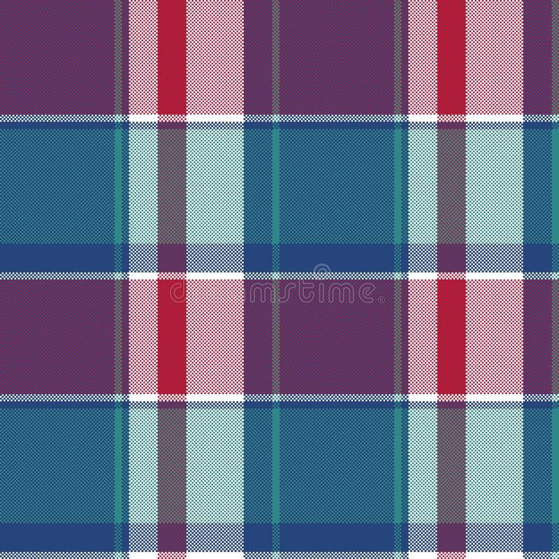 Pixel seamless pattern blue plaid stock illustration