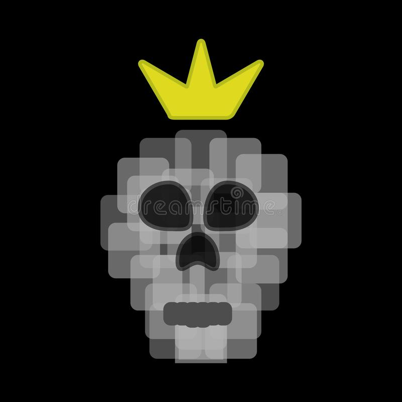 Pixel skull with a crown. Vector illustration. royalty free illustration