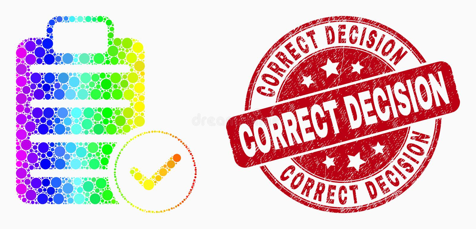 Vector Rainbow Colored Pixel Accept Pad Text Icon and Grunge Correct Decision Stamp. Pixel spectrum accept pad text mosaic icon and Correct Decision seal stamp vector illustration