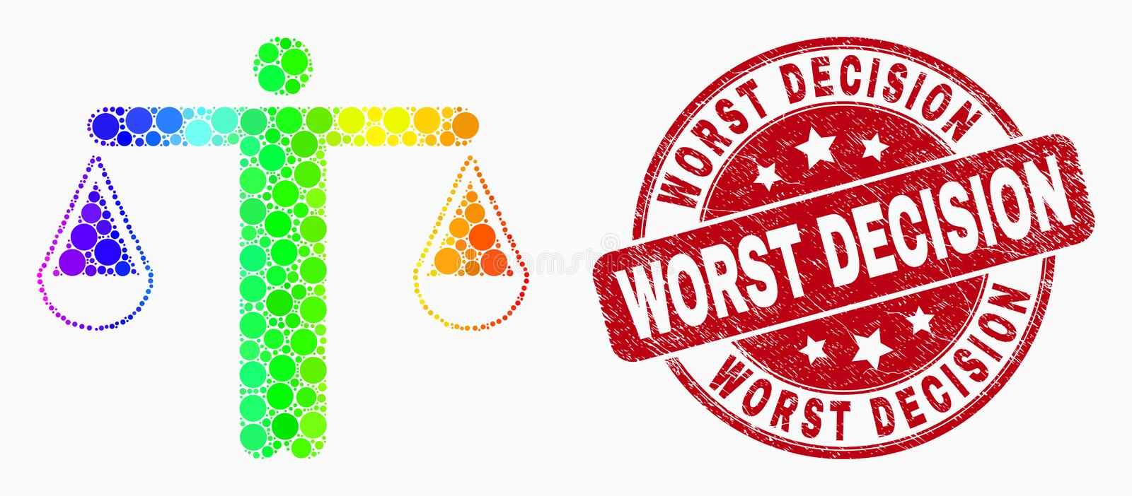 Vector Spectral Dot Judge Icon and Grunge Worst Decision Seal. Pixel spectrum judge mosaic icon and Worst Decision seal stamp. Red vector rounded scratched seal royalty free illustration