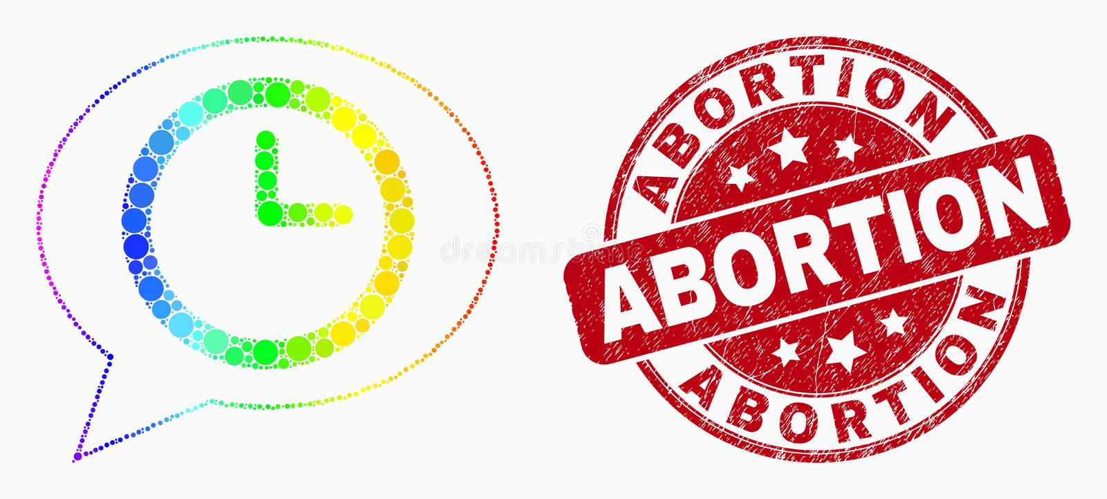 Vector Spectrum Pixel Time Message Balloon Icon and Distress Abortion Stamp vector illustration