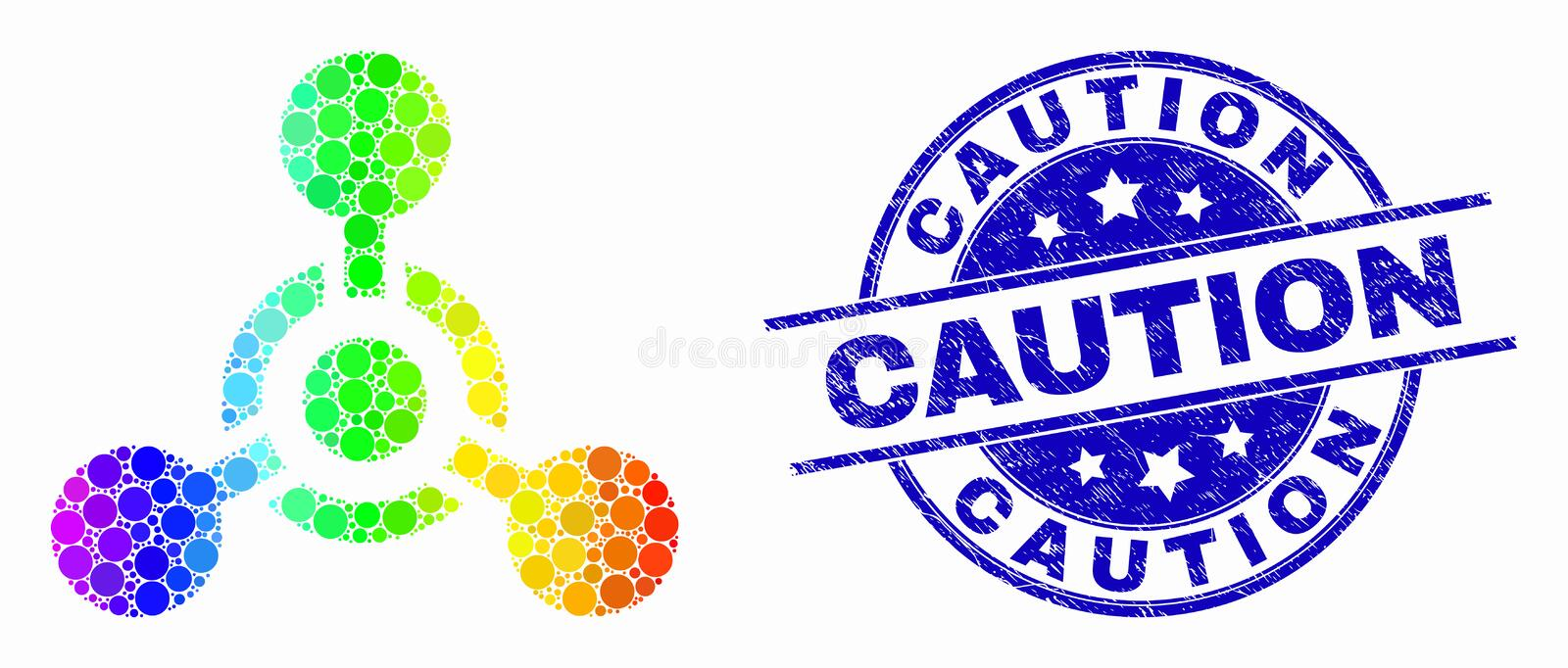 Vector Rainbow Colored Dot Toxic Nerve Agent Icon and Scratched Caution Seal. Pixel spectrum toxic Nerve agent mosaic icon and Caution seal stamp. Blue vector royalty free illustration