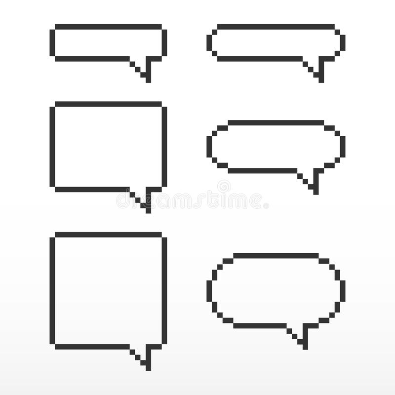 Pixel Speech Bubble, With Place For Text Boxes. Stock