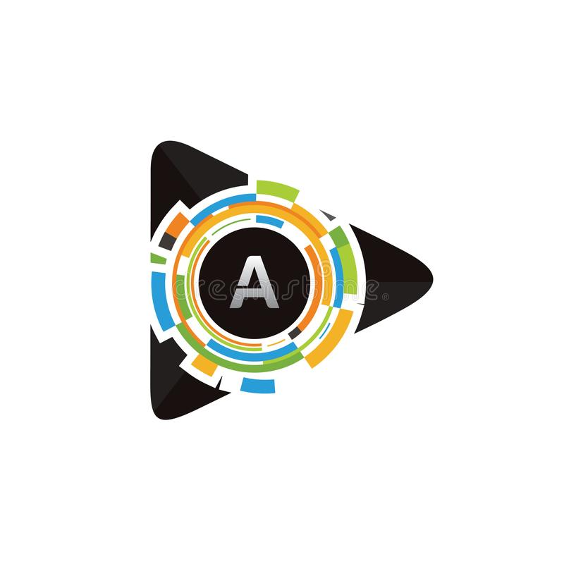 Pixel-Spiel-Medien ein Buchstabe-Logo lizenzfreie abbildung
